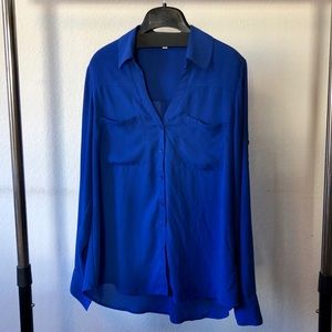 Express Slim Fit Flowy Blouse in blue